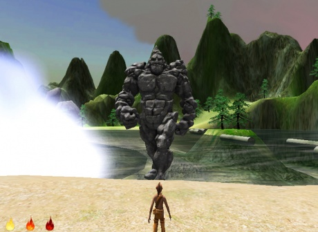 6. Skins 2.0 Skahionati approaches the Stone Giant from the The Adventure of Skahion ati Legend of the Stone Giant game prototype 2012 AbTeC